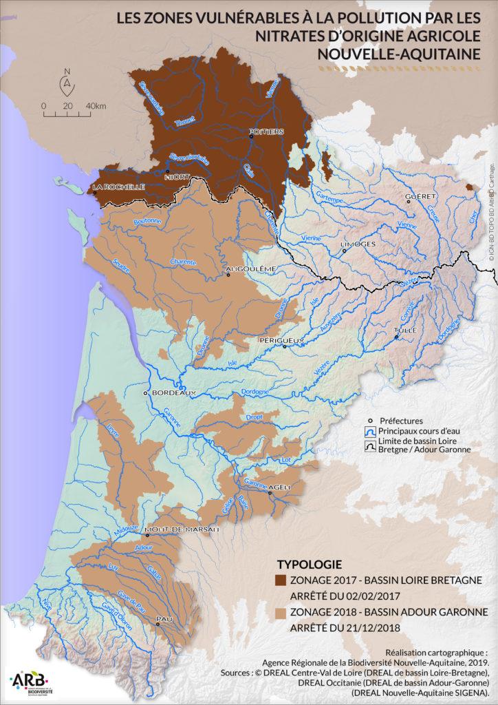 Carte La qualité de la ressource Nouvelle Aquitaine